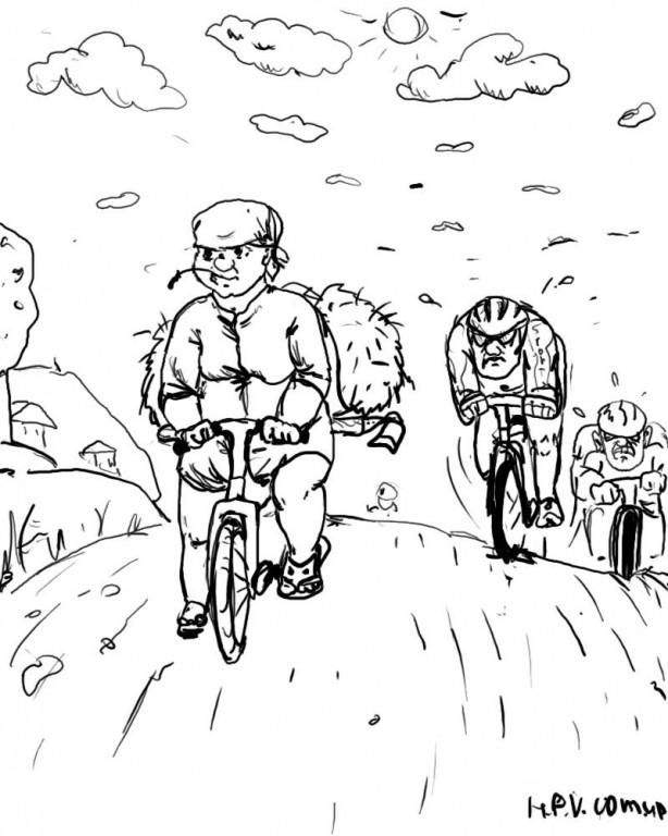 """Из серии """"не объяснимо, но факт"""". Именно такую картину я увидела однажды, проезжая  по сельской местности. Думаю, тетка с сеном свернула на дорогу прямо перед велосипедистами-гонщиками, но представьте себе, как это выглядело - бабушка на """"Украине"""" - на вершине подъема, и шоссеры  ПОЗАДИ нее."""