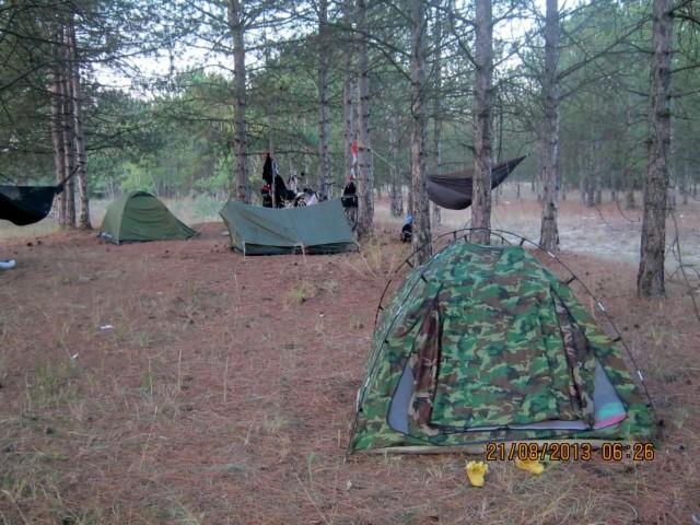Палатки в лесу