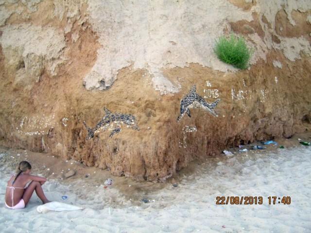 Рисунки. выложенные из камешков