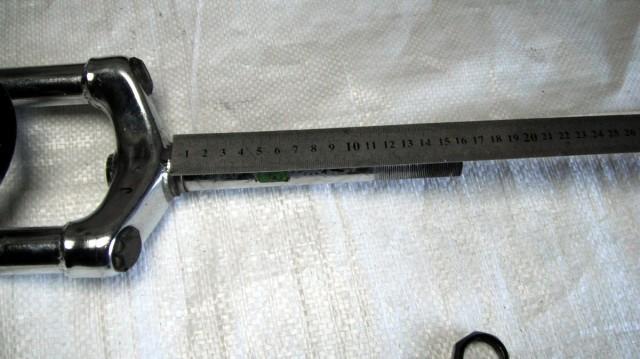 Шток дюймової вилки має бути довжиною 160 мм